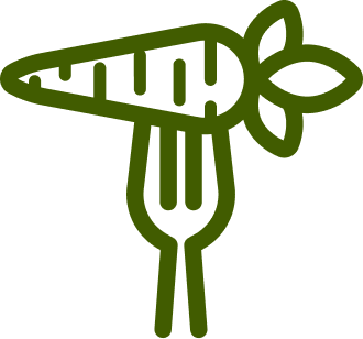 Icon of a fork with a carrot