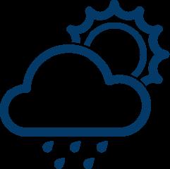 Icon of the sun, cloud and rain