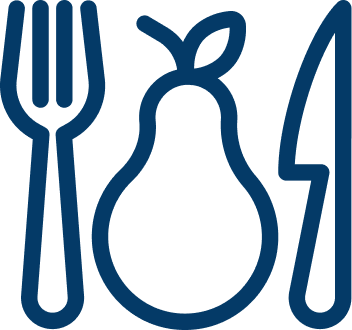 Icon of fork and knife around fruit