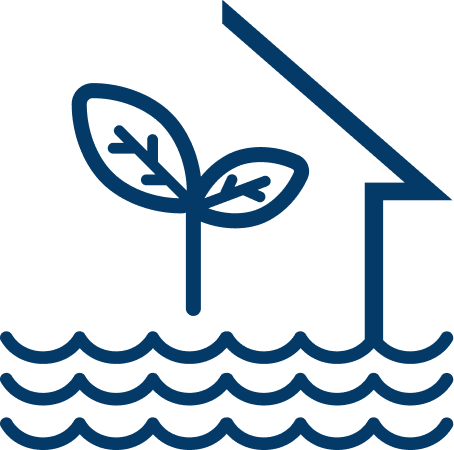 Icon of a plant, water, and roof to show hydroponics
