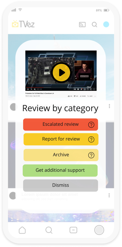 """A second screenshot of an app with the Image Shield pop-up which reads """"Review by category"""" The user then has the option to select """"escalated review, report for review, archive, get additional support or dismiss""""."""
