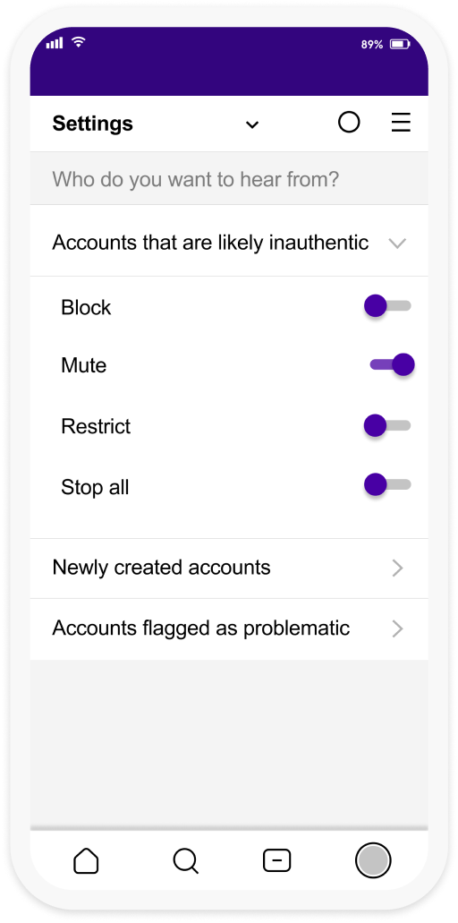 """A third screenshot featuring the Calm the Crowd interface's settings menu asking the user """"Who do you want to hear from?"""". The first option """"Accounts that are likely inauthentic"""" is expanded to reveal options for """"block, mute, restrict and stop all"""". Further options for """"newly created accounts"""" and """"accounts flagged as problematic"""" are listed below."""