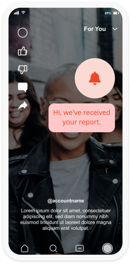 """A screenshot of an app with the a pop up from IMatter appearing on the screen which reads """"Hi, we've receievd your report""""."""