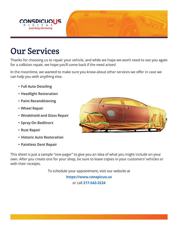 """""""All Our Services"""" Sheet for your Collision Repair Shop"""