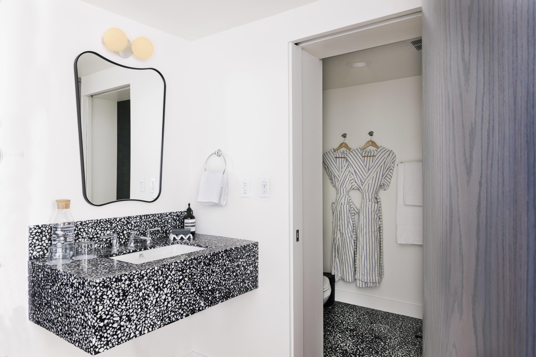 Bathroom sink vanity, shower and toilet