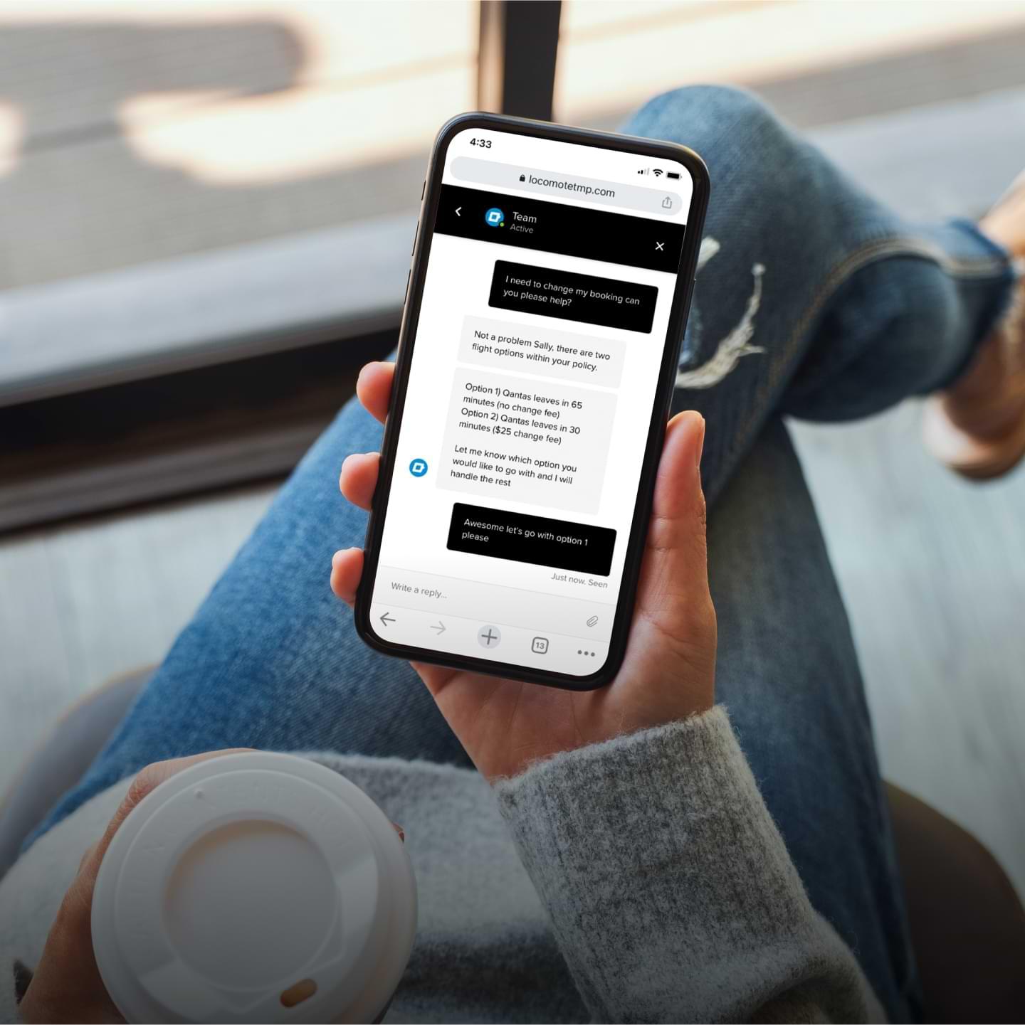 Locomote customer using mobile app