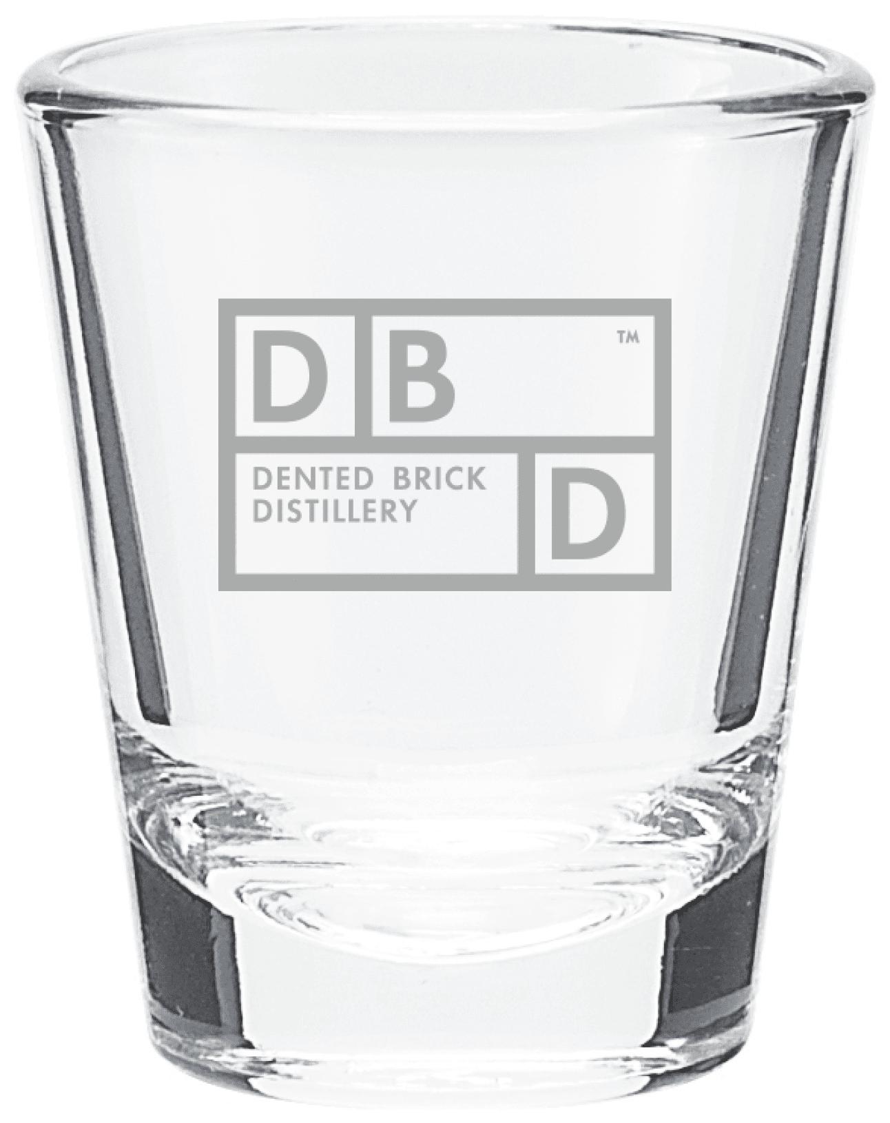 Dented Brick Distillery shot glass