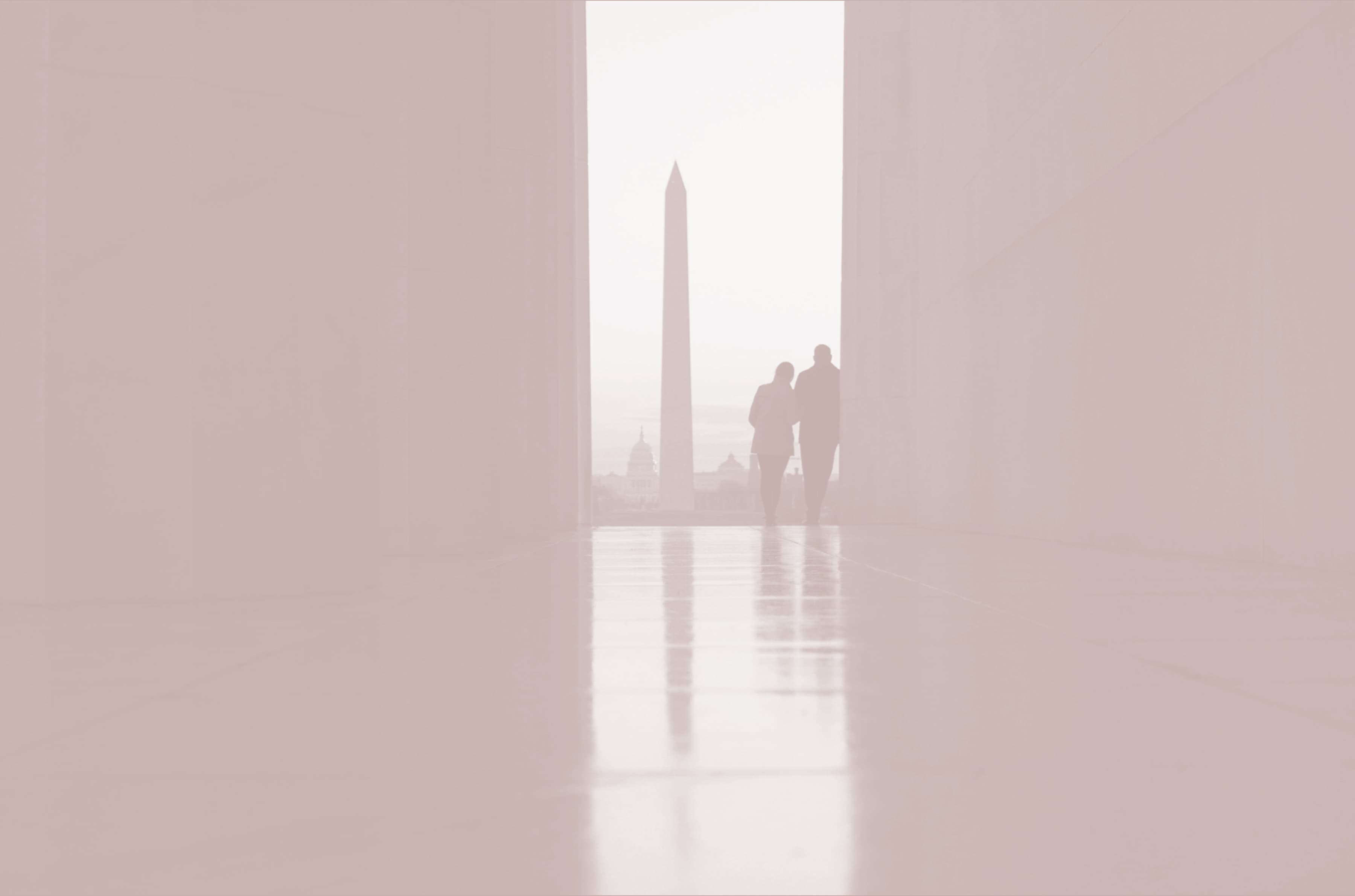 The Washington monument is in the distance while a couple looks on, leaning into one another.