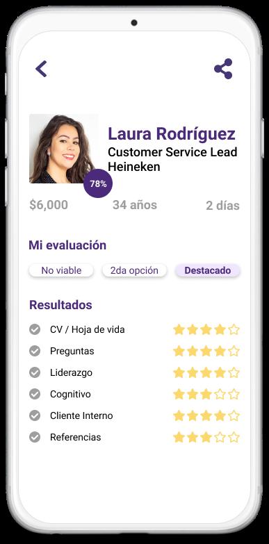 Celular con la aplicaci贸n de Aira abierta con la evaluaci贸n de un candidato.