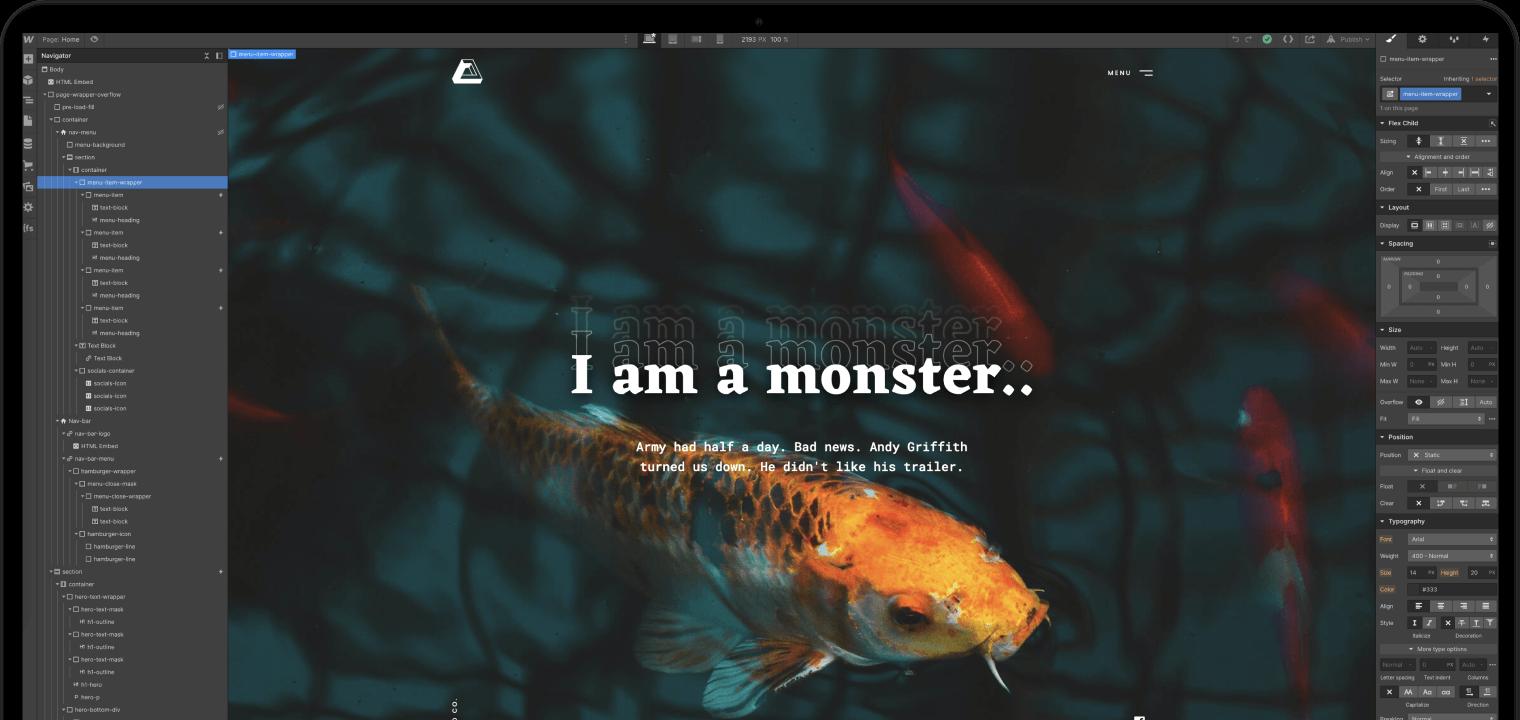Mock up van een macbook met daarin de webflow template voor Brutalism