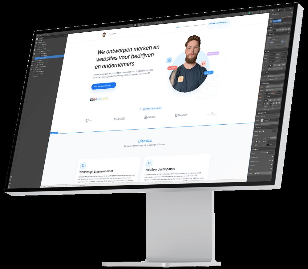 Mock up van Pro Display met de website van Studio Lars op in de Webflow editor.