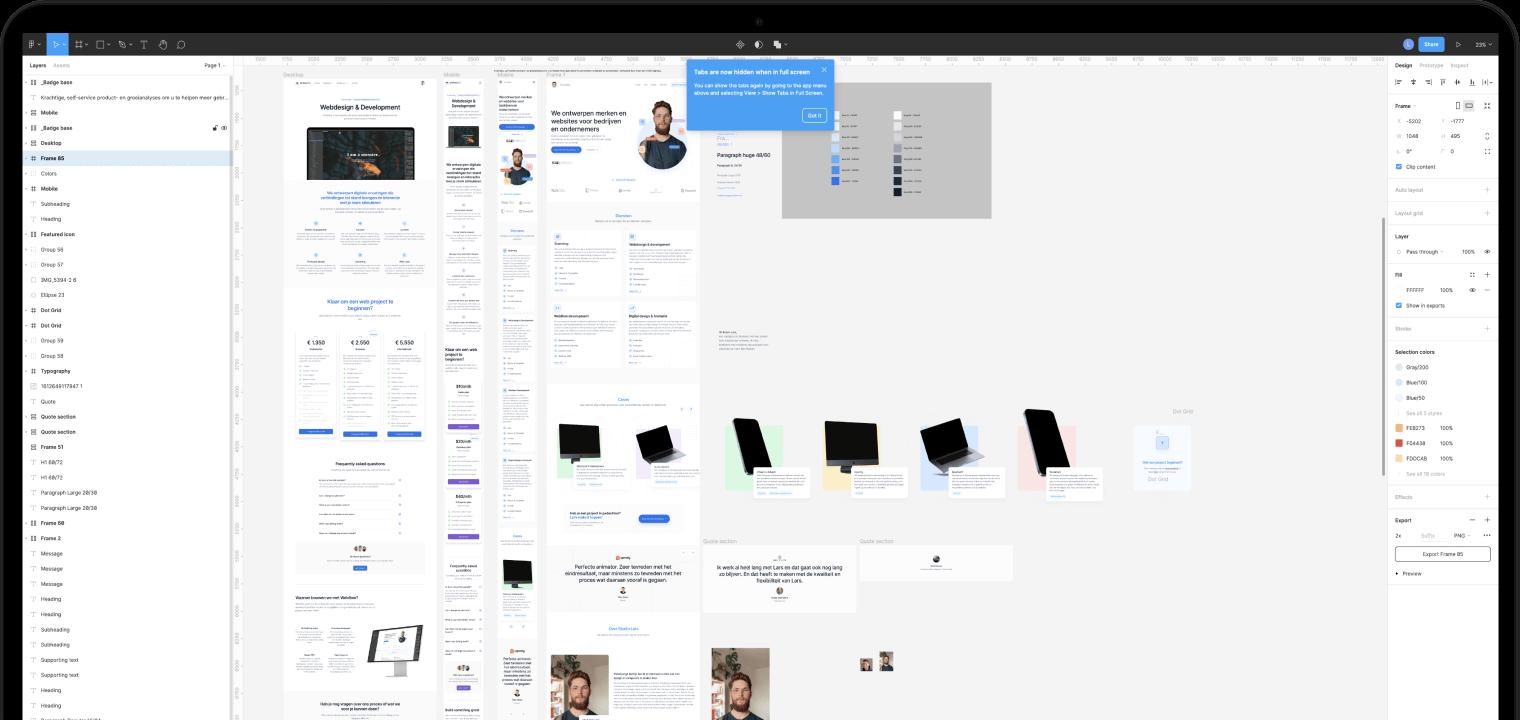 Mock up van een macbook met daarin de ontwerpfase in Figma van de website van Studio Lars