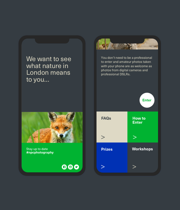 London Wildlife Trust 'NPC Photography competition' mobile website designs