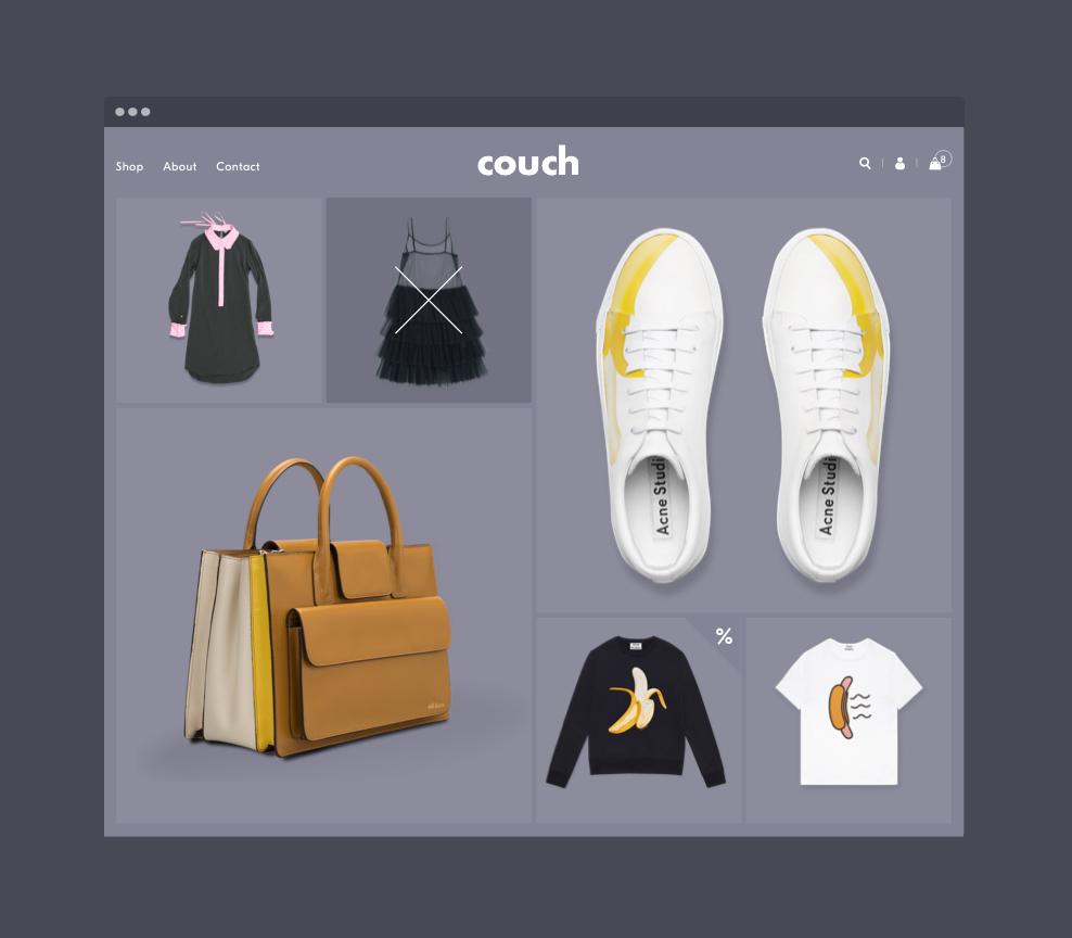 Shopify theme homepage displaying clothing products