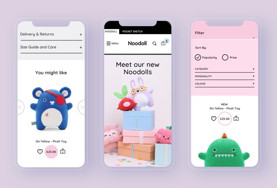 Noodoll eCommerce mobile website design