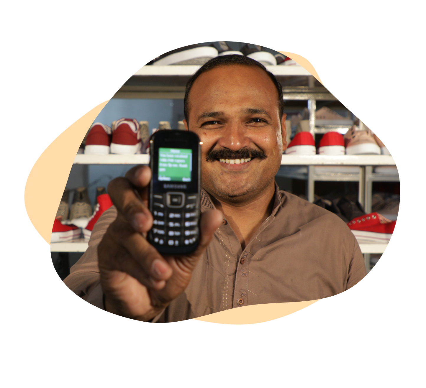 A lucky worker, showing his mobile