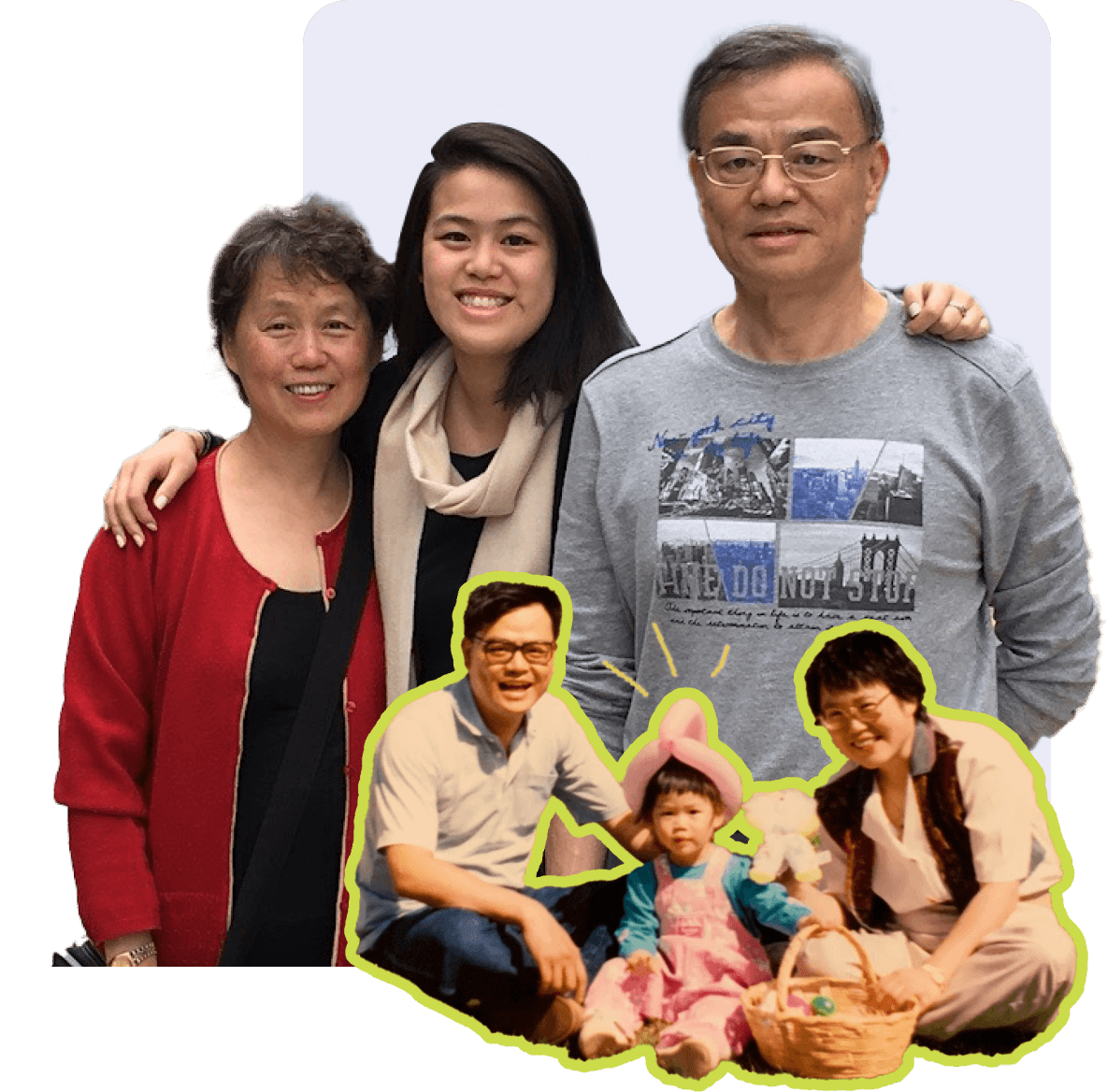 Jessica's family, now and then.   LingoHealth App