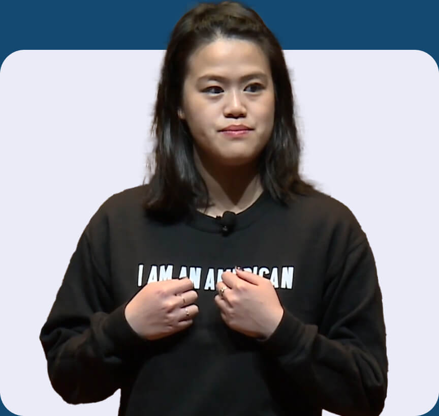 Jessica Chao on stage: Why we need language inclusivity video.