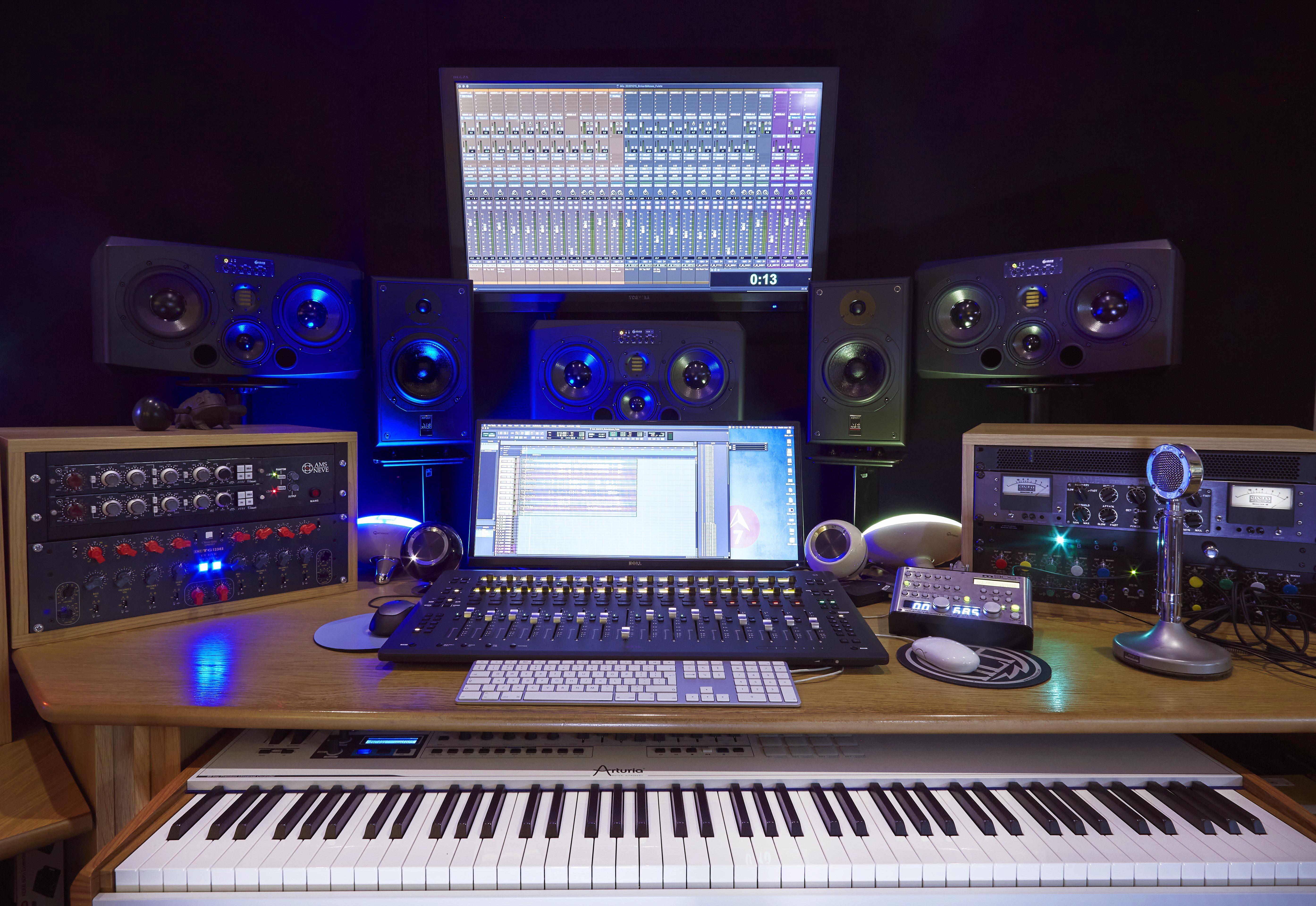 Audio equipment on a desk