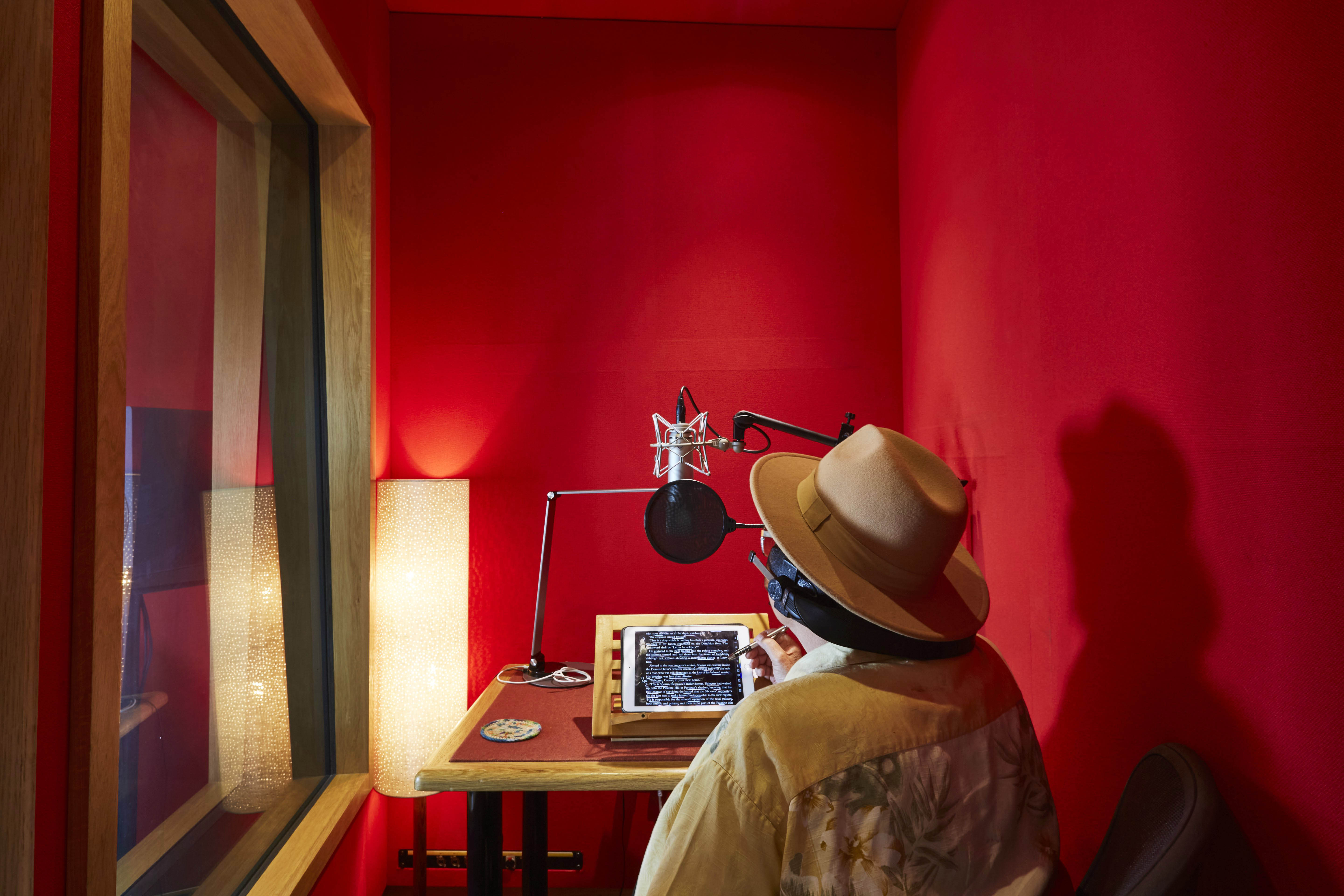 Man recording audio for an audiobook