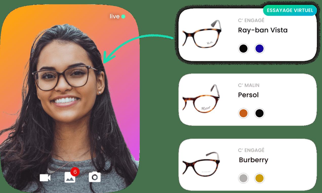 personne essayant des lunettes virtuellement