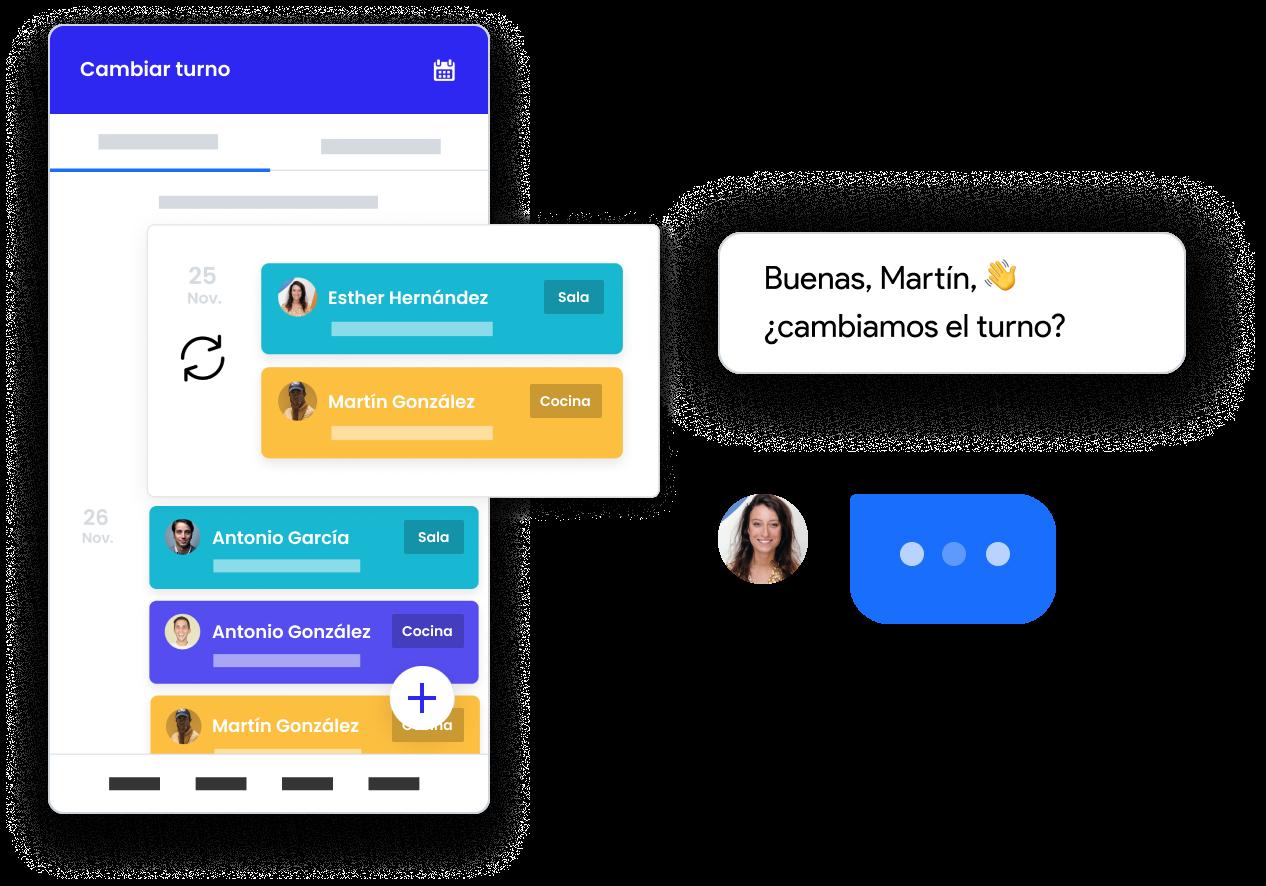 image de la fonctionnalité de la communication entre employés de Skello