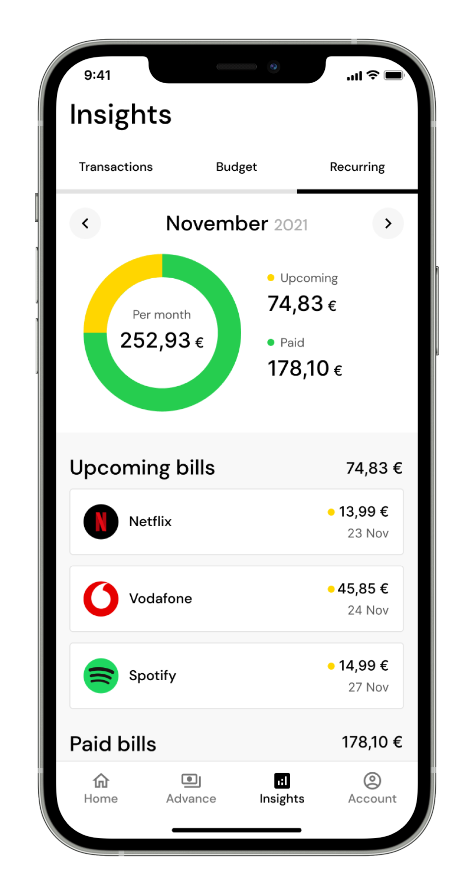 Budget insights Standin mobile application