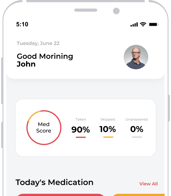 Smart phone showing medication reminder alert within the Pillway app.