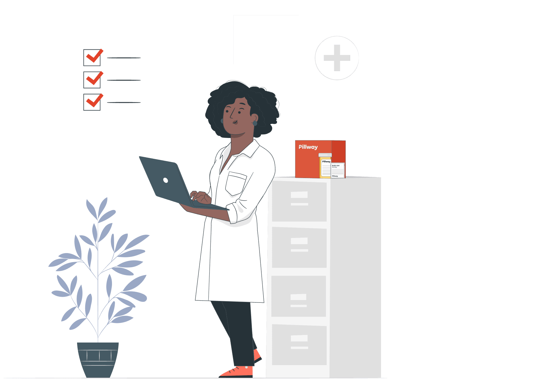 Female pharmacist checking the prescription on her tablet with a red Pillway box, medicine vile and Medicine packet sitting on top of a filing cabinet.