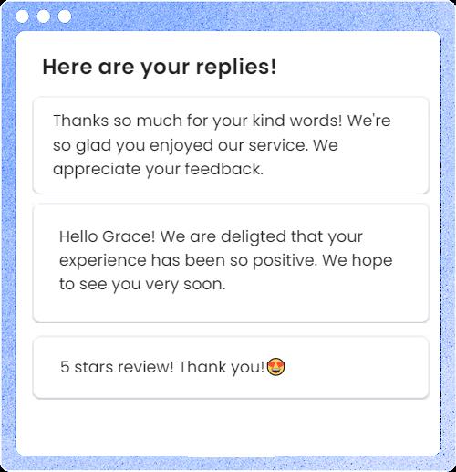 Replier.ai helps respond reviews giving ideas
