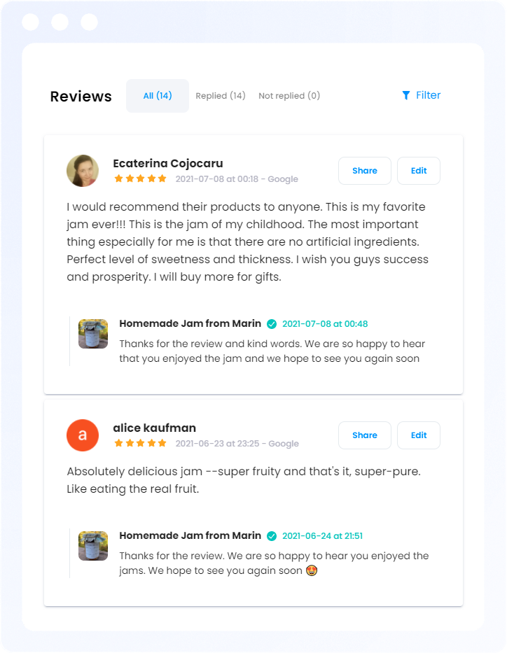 Manage all your review replies from one panel