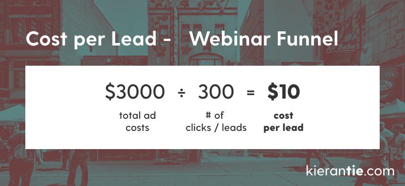 Webinar funnel cost per lead