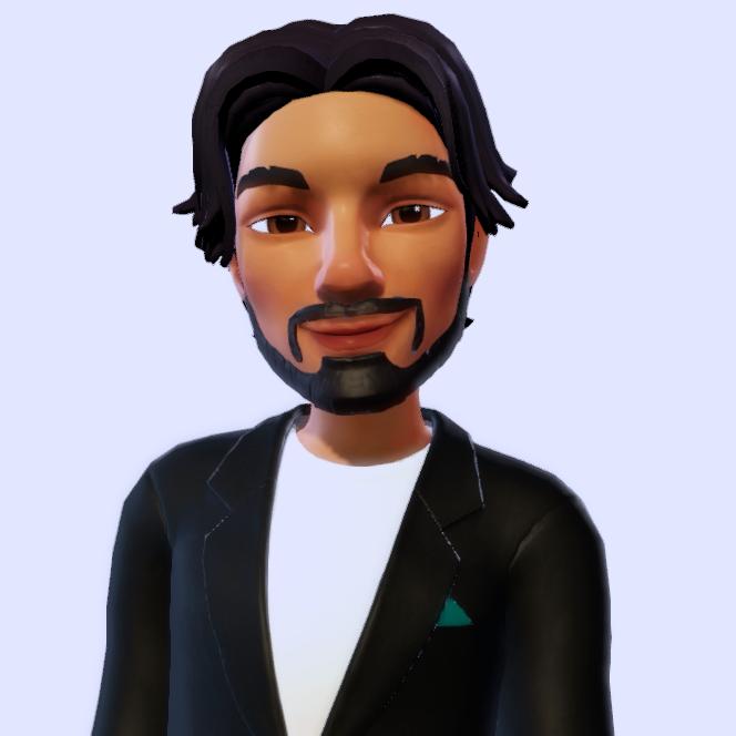 Personnage en 3D, homme brun aux yeux bruns